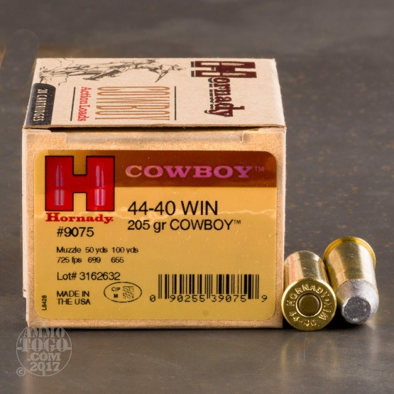 20rds - 44-40 Win. Hornady 205gr. Cowboy Flat Point Ammo