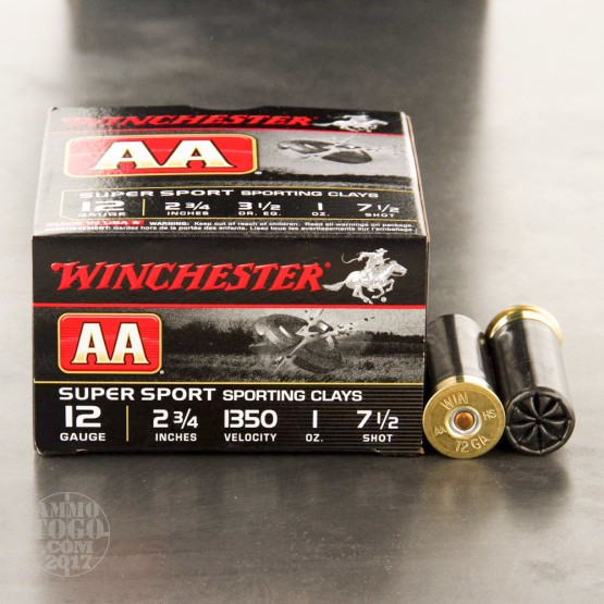 "25rds - 12 Gauge Winchester AA Sporting Clays 2-3/4"" 1oz. #7.5 Shot Ammo"