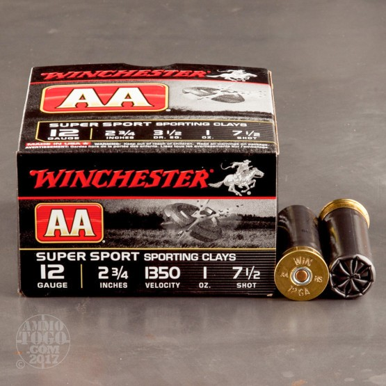 """25rds - 12 Gauge Winchester AA Sporting Clays 2-3/4"""" 1oz. #7.5 Shot Ammo"""