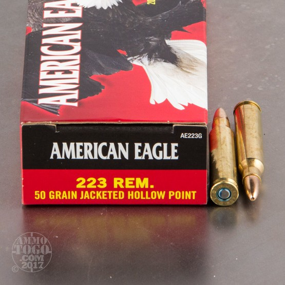 500rds - 223 Rem Federal American Eagle 50 Grain JHP Ammo
