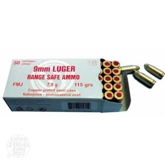 50rds - 9mm Sellier & Bellot Range Safe 115gr. FMJ Ammo