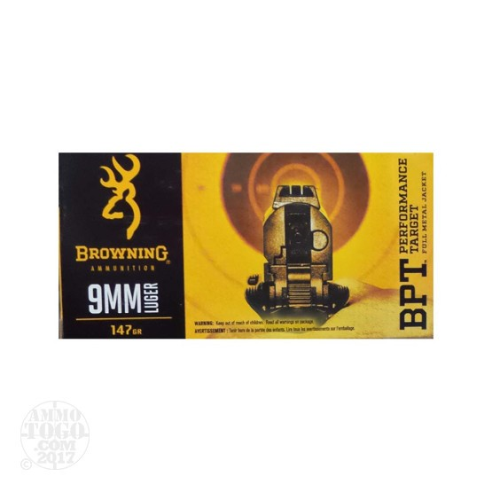 50rds – 9mm Browning BPT 147gr. FMJ Ammo