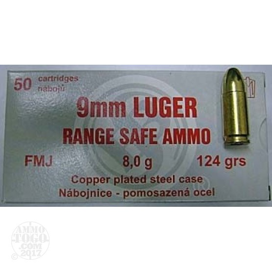 50rds - 9mm Sellier & Bellot Range Safe 124gr. FMJ Ammo