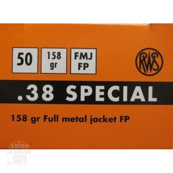 50rds - .38 Special RWS 158gr Flat Point FMJ Match Ammo