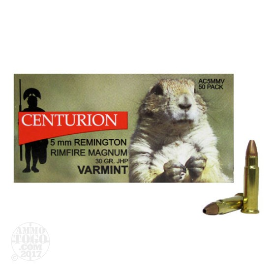 50rds - 5mm Rimfire Magnum Centurion Varmint 30gr. Jacketed Hollow Point Ammo