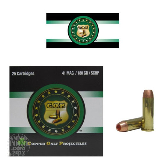 25rds - 41 Mag Rare Ammo COP 180gr. SCHP Ammo
