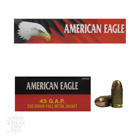 50rds - 45 GAP Federal American Eagle 230gr. FMJ Ammo