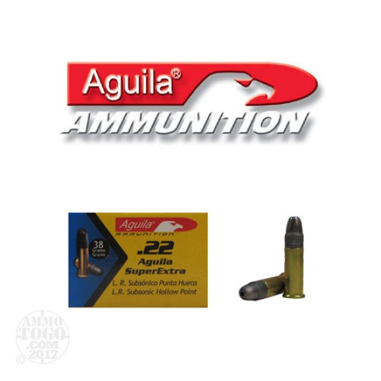 500rds - 22LR Aguila Sub-Sonic 38gr. Hollow Point Ammo