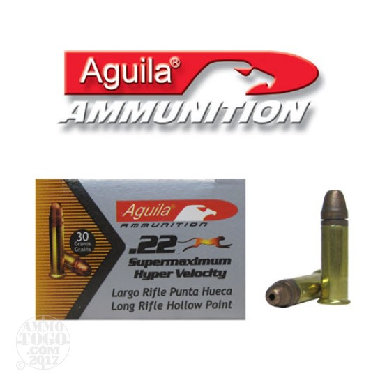 50rds - 22LR Aguila Super Max 30gr. Hyper Velocity Hollow Point Ammo