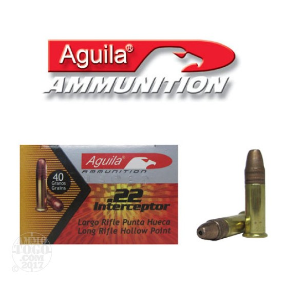 500rds - 22LR Aguila Interceptor 40gr. Hollow Point Ammo
