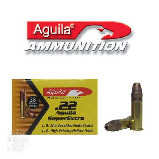 50rds - 22LR Aguila High Velocity 38gr. Hollow Point Ammo