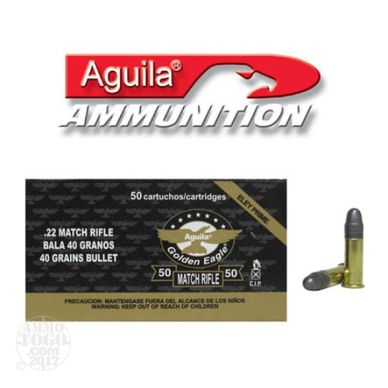500rds - 22LR Aguila Match Rifle 40gr. Solid Point Ammo