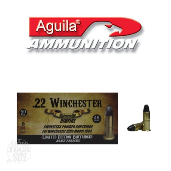 50rds - 22 Winchester Automatic Aguila 45gr. Lead Nose Ammo