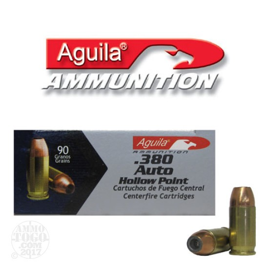 50rds - .380 Auto Aguila 90gr. Hollow Point Ammo