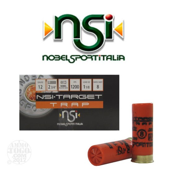 "250rds - 12 Gauge NSI Trap 2 3/4"" 3 Dram 1 1/8oz. #8 Shot Ammo"