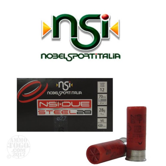 "250rds - 12 Gauge NSI Steel 2 3/4"" 1oz. #6 Shot Ammo"