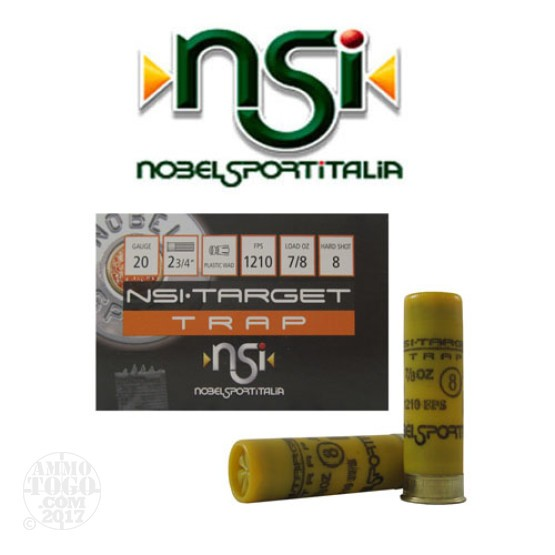 "25rds - 20 Gauge NSI Trap 2 3/4"" 2 1/2 Dram 7/8oz. #8 Shot Ammo"