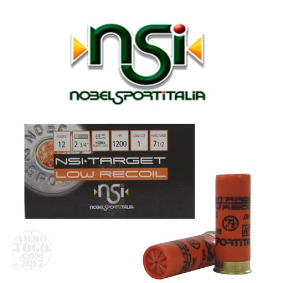 "250rds - 12 Gauge NSI Low Recoil 2 3/4"" 1oz. #7 1/2 Shot Ammo"