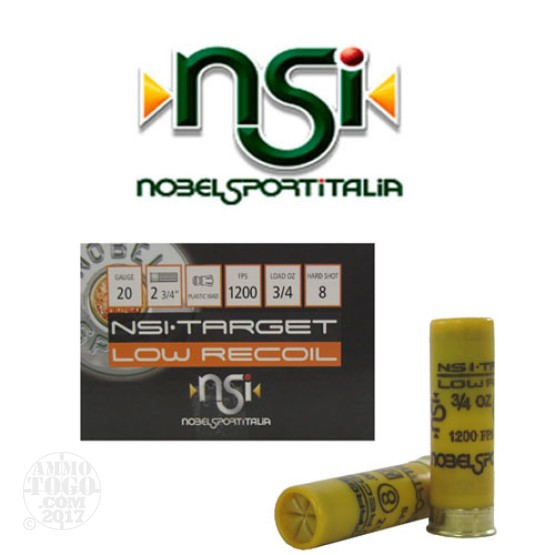 "250rds - 20 Gauge NSI Low Recoil 2 3/4"" 3/4oz. #8 Shot Ammo"