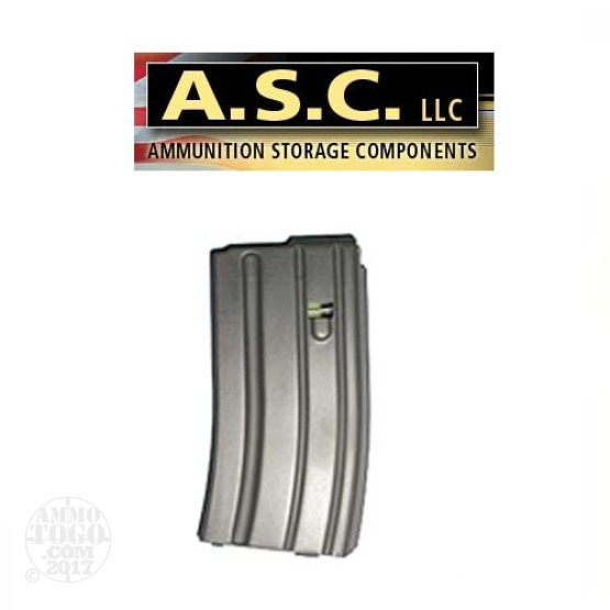 1 - ASC AR-15 223 / 5.56 20rd. Aluminum Curved Body Magazine Gray Color