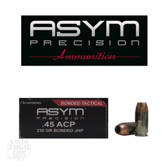 20rds - 45 ACP ASYM 230gr. Tactical Bonded JHP Ammo
