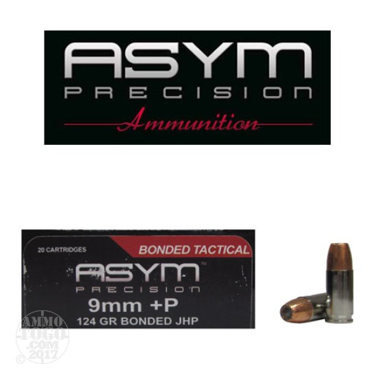 20rds - 9mm ASYM 124gr. Bonded +P JHP Ammo