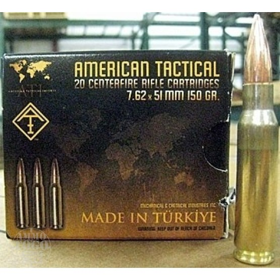 100rds - .308/7.62x51 American Tactical Imports Mil-Spec 150gr. FMJ Ammo