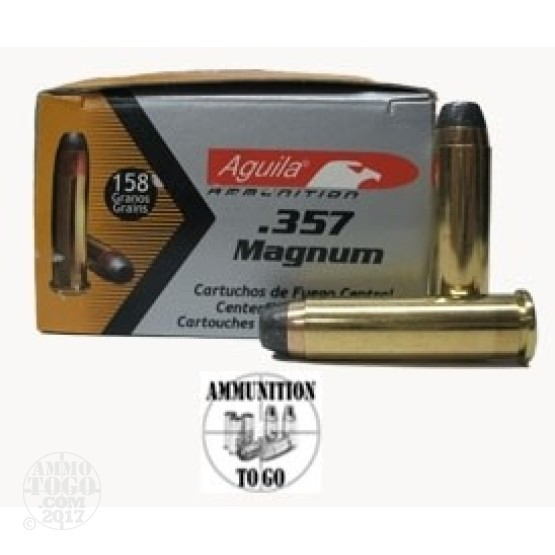 50rds - 357 Mag Aguila 158gr. Semi-Jacketed Hollow Point Ammo