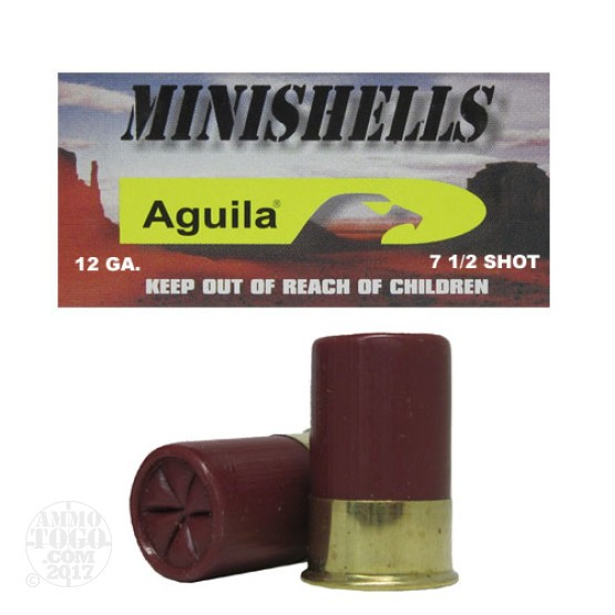 100rds - 12 Gauge Aguila Mini-Shell #7 1/2 Bird Shot