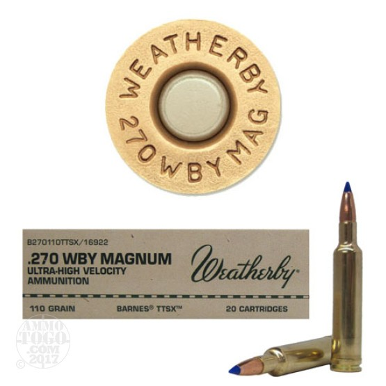 20rds - 270 Weatherby Mag. 110gr. Barnes TTSX Ammo