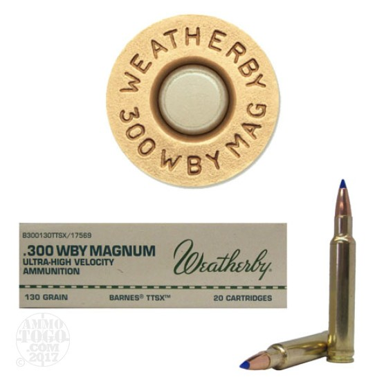 20rds - 300 Weatherby Mag. 130gr. Barnes TTSX Hollow Point Ammo