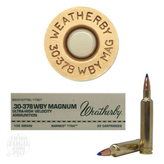 20rds - 30-378 Weatherby Mag. 130gr. Barnes TTSX Ammo