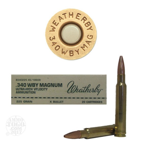 20rds - 340 Weatherby Magnum 225gr. X-Bullet Ammo