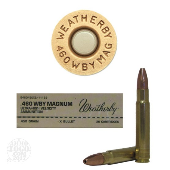 20rds - 460 Weatherby Magnum 450gr. X-Bullet Ammo