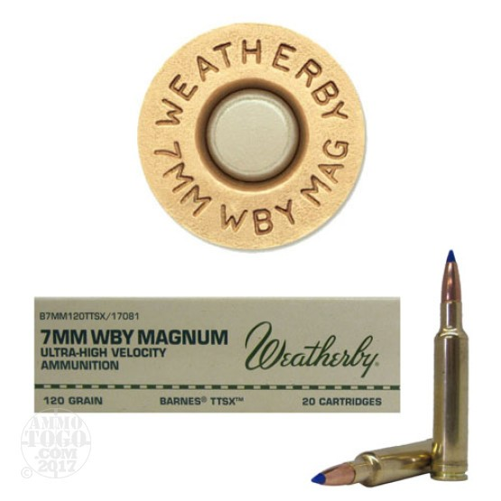 20rds - 7mm Weatherby Mag. 120gr. Barnes TTSX Ammo