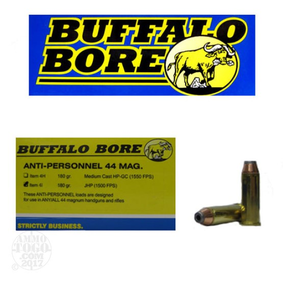20rds - 44 Mag Buffalo Bore 180gr. JHP Anti-Personnel Ammo