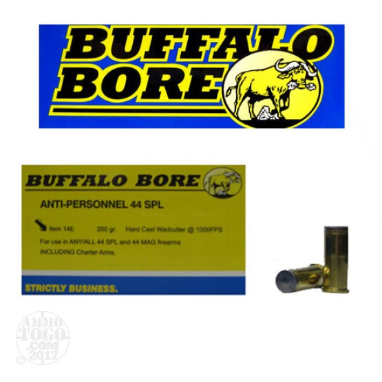 20rds - 44 Special Buffalo Bore Anti-Personnel 200gr. Hard Cast Wadcutter Ammo