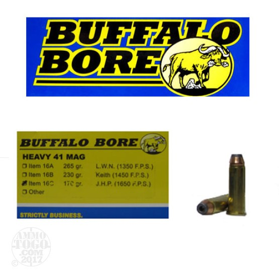 20rds - 41 Mag Heavy Buffalo Bore 170gr. JHP
