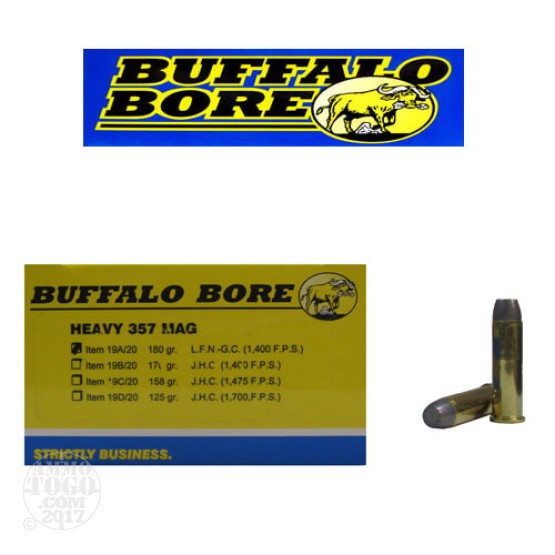 20rds - 357 Magnum Heavy Buffalo Bore 180gr. Hard Cast LFN Ammo