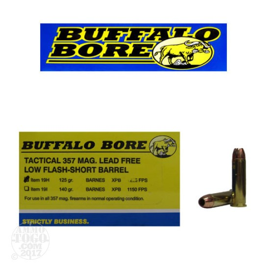 200rds - 357 Mag Buffalo Bore 125gr. Barnes XPB HP Low Flash Short Barrel Ammo