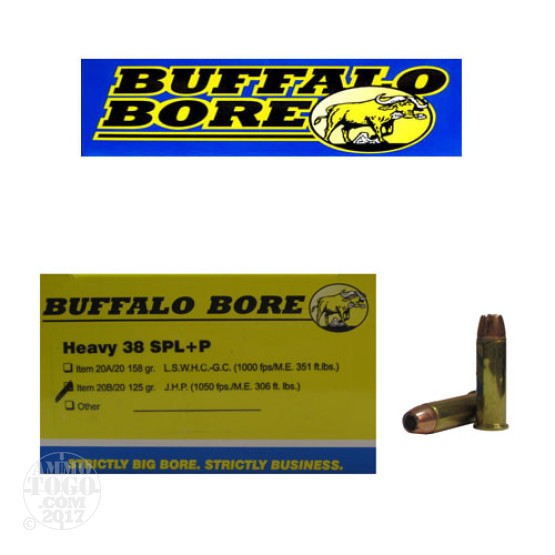 20rds - 38 Special Heavy +P Buffalo Bore 125gr. Gold Dot HP Ammo