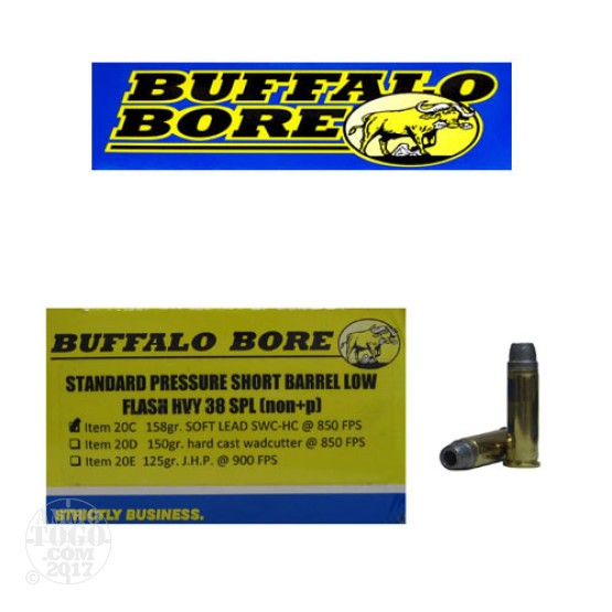 20rds - 38 Special Short Barrel Heavy Buffalo Bore 158gr. SWC HC Ammo
