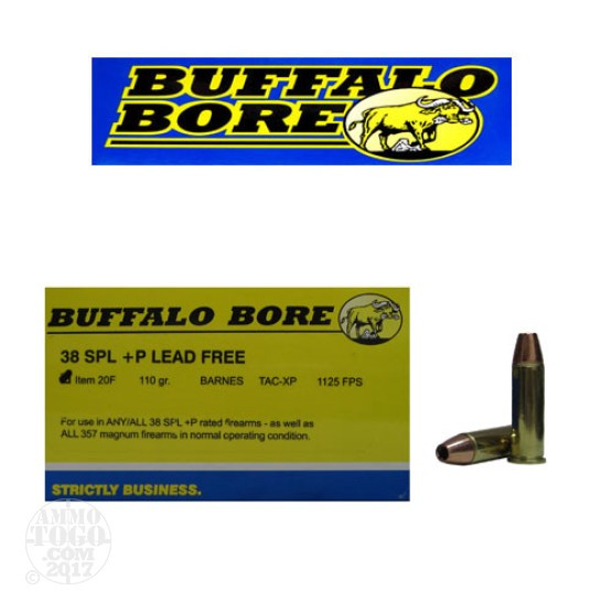 20rds - 38 Special Buffalo Bore 110gr. +P TAC-XP HP Lead Free Ammo