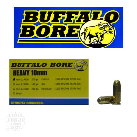 20rds - 10mm Heavy Buffalo Bore 200gr. FMJ-FN