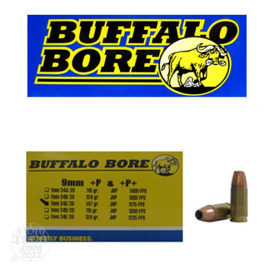 20rds - 9mm Luger Buffalo Bore +P+ 147gr. JHP Ammo