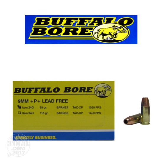 20rds - 9mm Buffalo Bore 95gr. TAC-XP +P+ Lead Free Ammo