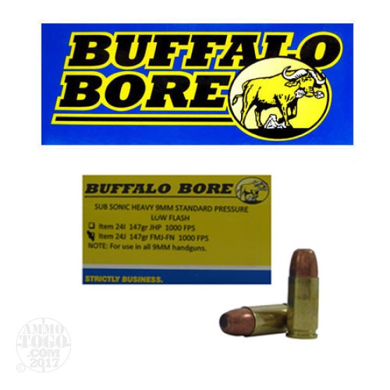 20rds - 9mm Luger Buffalo Bore Heavy Sub-Sonic 147gr. FMJ-FN Ammo