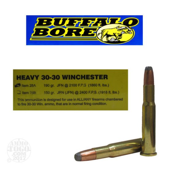 20rds - 30-30 Win. Heavy Buffalo Bore 190gr. Jacketed Flat Nose Ammo