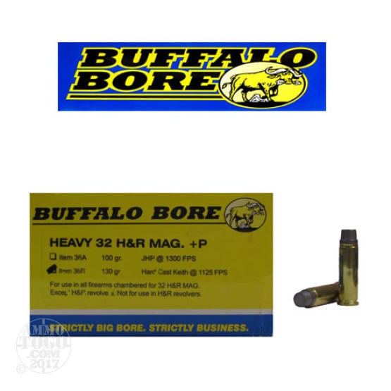 20rds - 32 H&R +P Heavy Buffalo Bore 130gr. Hardcast Keith Ammo