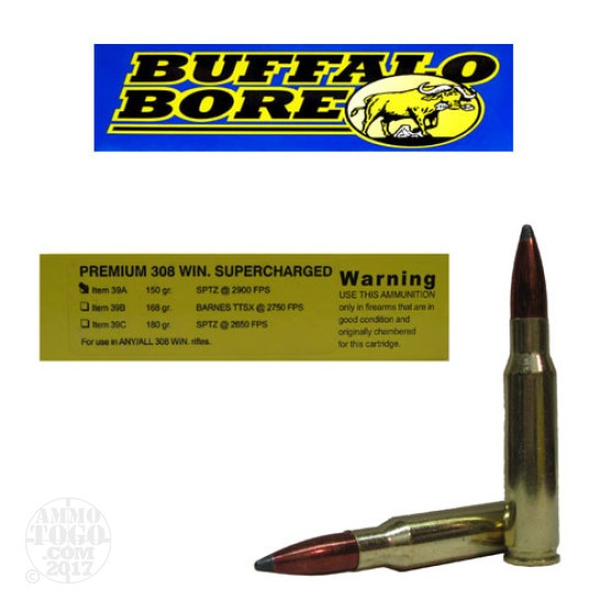 20rds - 308 Win. Supercharged Buffalo Bore 150gr. Spitzer PSP Ammo